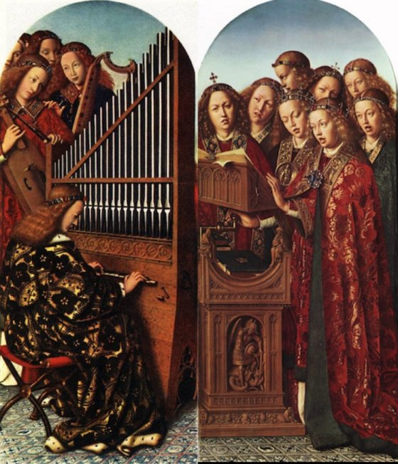 Jan van Eyck, Musical Angels, two panels from the Ghent Altarpiece, 1430-32, oil on panel
