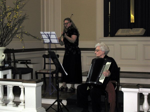 Cindi Sifers and Joan Gilyeat Moyer perform at the Meridian Street Methodist Church Chapel.